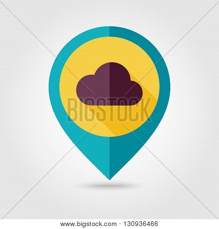 Cloud flat pin map icon. Map pointer. Map markers. Meteorology. Weather. Vector illustration eps 10