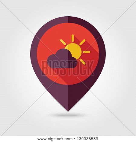 Sun and cloud flat pin map icon. Map pointer. Map markers. Meteorology. Weather. Vector illustration eps 10