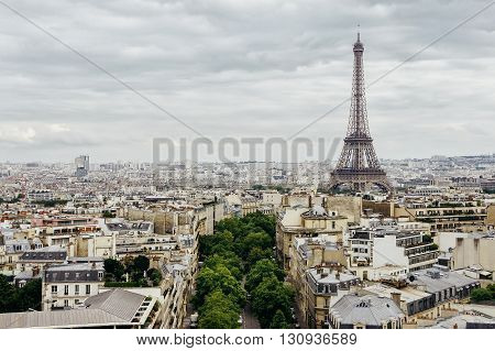 Aerial panoramic view on Eiffel Tower and historical city downtown in Paris, France
