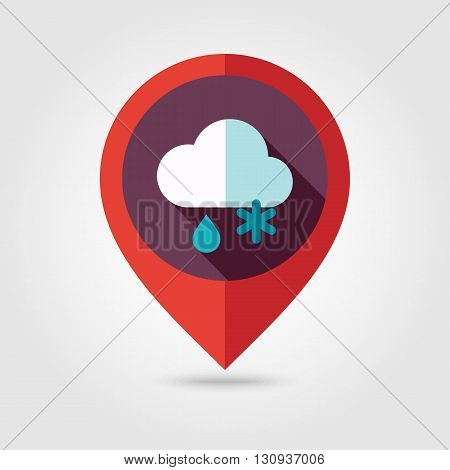 Cloud with Snow and Rain flat pin map icon. Map pointer. Map markers. Meteorology. Weather. Vector illustration eps 10