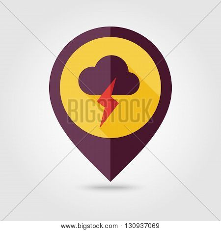 Cloud Lightning flat pin map icon. Map pointer. Map markers. Meteorology. Weather. Vector illustration eps 10