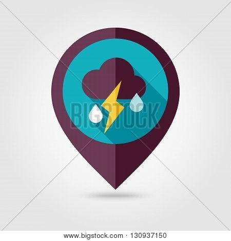 Cloud Rain Lightning flat pin map icon. Map pointer. Map markers. Meteorology. Weather. Vector illustration eps 10