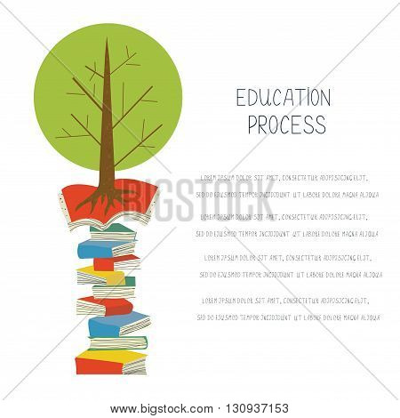 Educational concept with books and tree design for the blank or banner. Vector illustration
