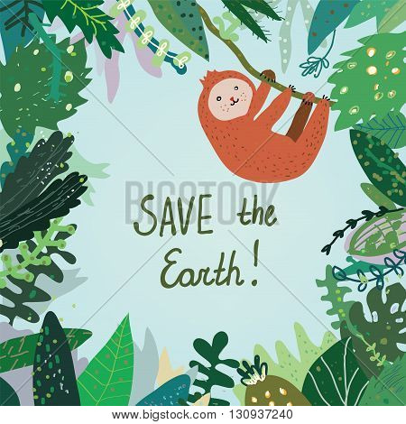 Save the Earth card with tropical forest nature and animal. Vector graphic illustration