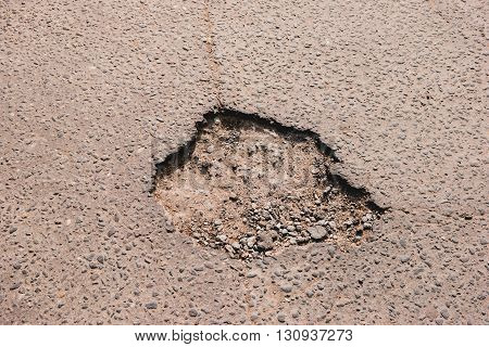 Crack in asphalt. Damaged pavement. Poor condition of the road surface.