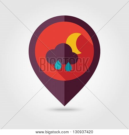 Rain Cloud Moon flat pin map icon. Map pointer. Map markers. Sleep dreams symbol. Meteorology. Weather. Vector illustration eps 10