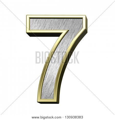 One digit case letter from brushed stainless steel with gold frame alphabet set, isolated on white. 3D illustration.