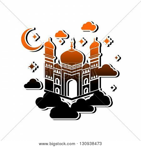 illustration in oriental style with a beautiful mosque and the moon.