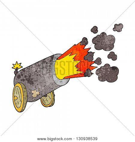 freehand textured cartoon big cannon firing
