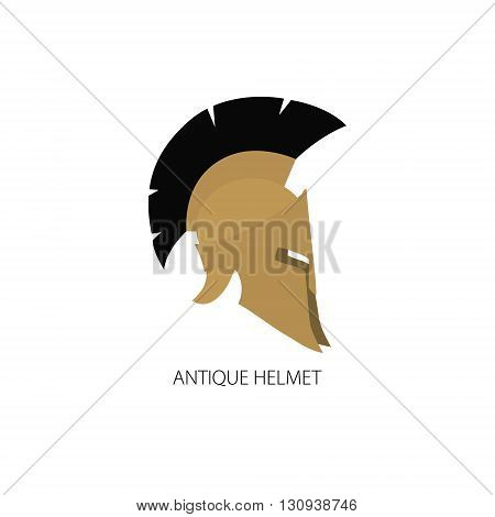 Antiques Roman or Greek Helmet Isolated on White, Helmet with a Crest of Feathers or Horsehair with Slits for the Eyes and Mouth, Logo Design Element ,Vector Illustration