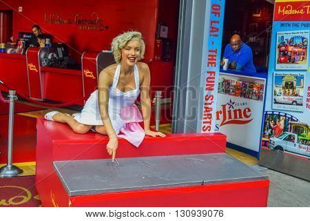 Los Angeles, California, USA . January 16, 2016 marilyn monroe The Hollywood Walk of Fame stretches for 15 blocks of sidewalk on Hollywood Boulevard. Madame Tussauds Hollywood wax museum