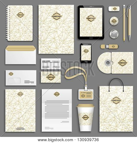 Trendy gold Corporate identity template set. Business stationery mock-up with logo. Branding design. Geometric background.