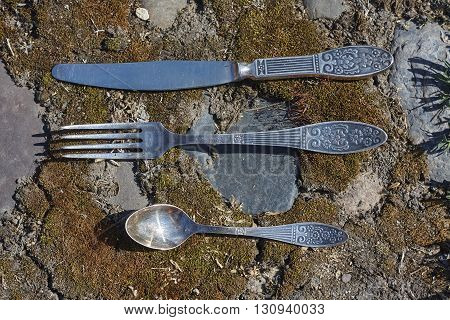knife fork and little spoon on moss and stone background close up