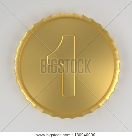 Coin with number one value 3d render