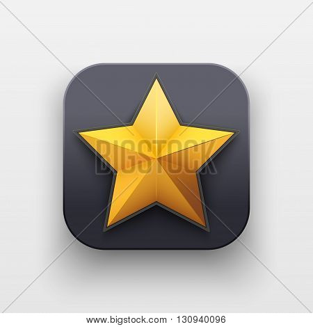 Star icon of Rating and Top Symbol on dark backdrop with shadow. Vector Illustration Isolated on background