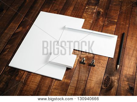 Blank stationery mock-up. Blank stationery and corporate identity template on vintage wooden table background. For design presentations and portfolios.