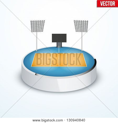 Concept of miniature round tabletop volleyball arena. In three-dimensional space. Vector illustration isolated on background.