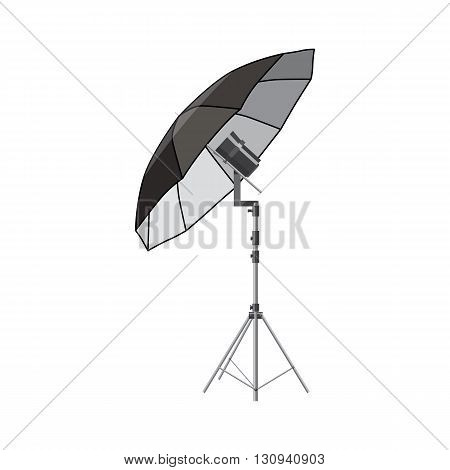 Umbrella for photography icon in cartoon style isolated on white background. Components for photo shooting symbol