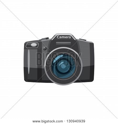 Photo camera icon in cartoon style isolated on white background. Components for photo shooting symbol