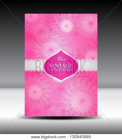 Pink flower Vintage Cover design template vector illustration Vintage Cover design Annual report  wedding card
