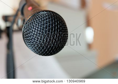 A Close up microphone on a concert