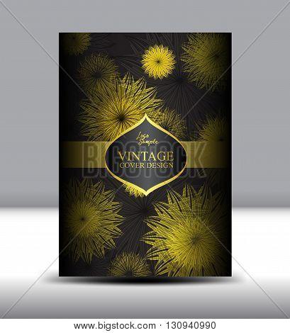 flower Vintage Cover design template vector illustration Vintage Cover design Annual report flyer brochure Catalog