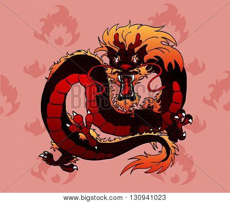 Furious red fiery Asian Chinese dragon against tongues of flame