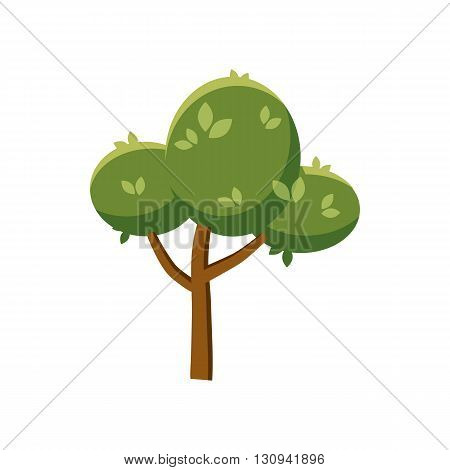 Fluffy tree icon in cartoon style isolated on white background. Nature and flora  symbol