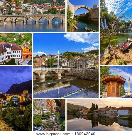 Collage of Bosnia and Herzegovina travel images (my photos) - nature and architecture background
