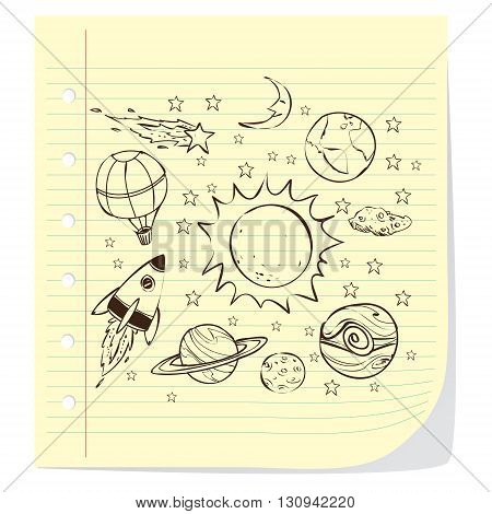Space theme doodle planet earth sun stars moon rocket asteroids balloon