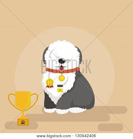 Illustration of sitting funny dog, Old English Sheepdog vector background