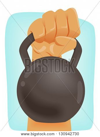 Illustration of a Man Carrying a Kettle Bell