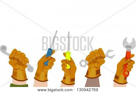 Illustration of Manual Laborers Holding Mechanical Tools