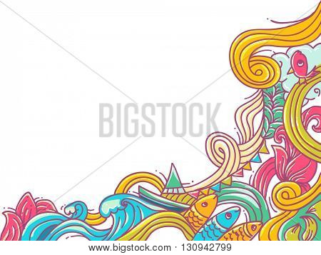 Border Illustration Featuring Colorful Waves