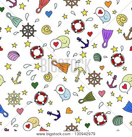Vector seamless pattern on a beach theme. Texture for web, print, textile, fabric, home decor,  wrapping paper. The possibility of using this template is limitless as your imagination.