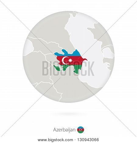 Map Of Azerbaijan And National Flag In A Circle.