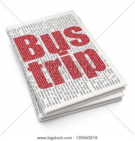 Vacation concept: Pixelated red text Bus Trip on Newspaper background, 3D rendering