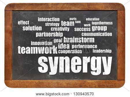 synergy and teamwork word cloud - white chalk text on a vintage slate blackboard