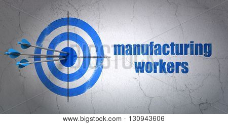 Success Industry concept: arrows hitting the center of target, Blue Manufacturing Workers on wall background, 3D rendering