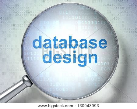 Programming concept: magnifying optical glass with words Database Design on digital background, 3D rendering