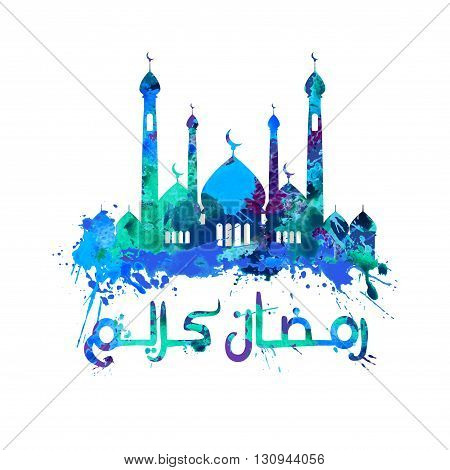 ramadan kareem in Arabic and a mosque of splash paint