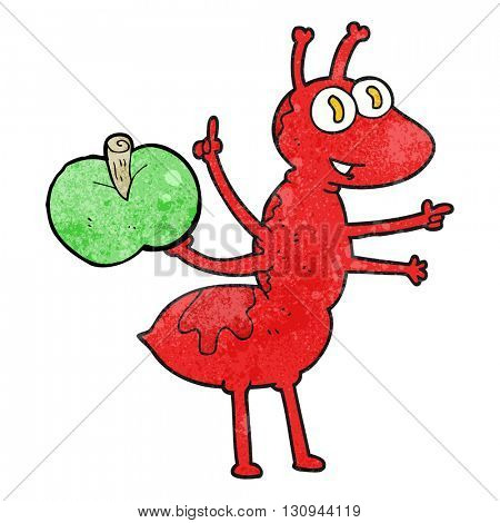 freehand textured cartoon ant with apple