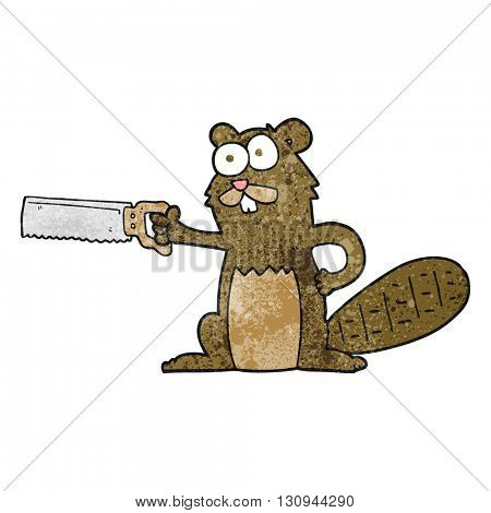 freehand textured cartoon beaver with saw