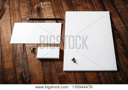 Blank stationery template. Blank letterhead business cards envelope and pencil. Mock-up for designers portfolios.