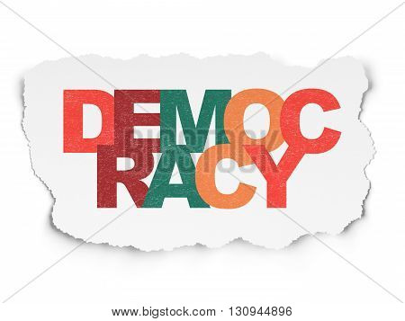 Political concept: Painted multicolor text Democracy on Torn Paper background