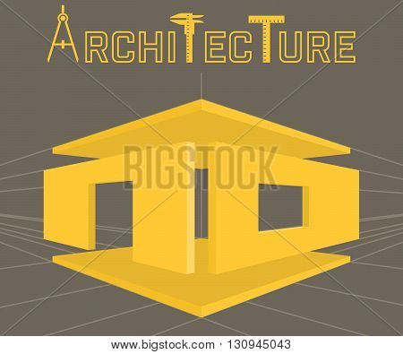 Architecture studio vector logo template on brown background