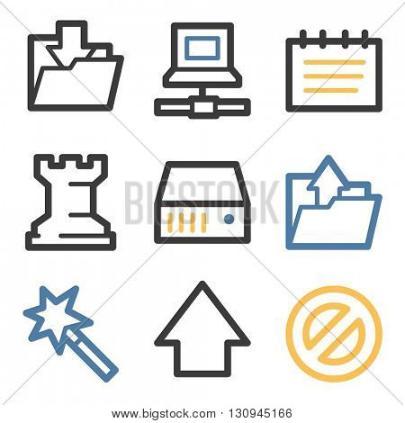 Data web icons, folder and disk, upload and download, vector stock signs