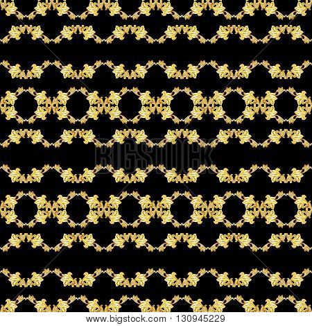 Gorizontal seamless gold floral pattern on black background