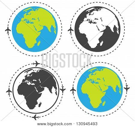 Four icons isolated on white background. Arount the world.