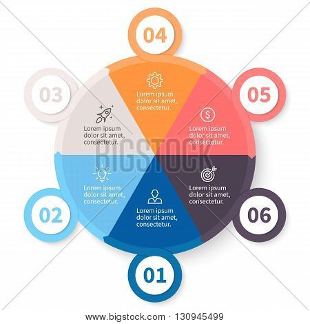 Circular infographic. Pie chart, diagram, graph with 6 steps, options, parts, processes with arrows and number options.
